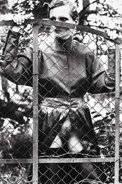 Helmut Newton-Roselyn behind Fence, Arcangues, France-1975