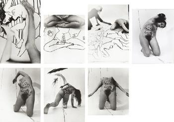 Untitled ((i) Legs with drawing of a nude; (ii) Seated nude with drawing of seated nude; (iii) Artist drawing; (iv) Kneeling nude; (v) Kneeling Nude with painted elephant; (vi) Nude with painted tiger on back; (vii) Female nude, Bending Back)-1975