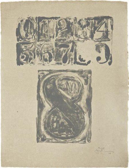 Jasper Johns-0-9: plate 8-1963