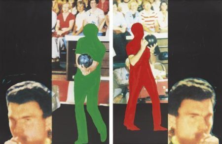 John Baldessari-A French Horn Player, a Square Blue Moon, and Other Subjects Series: Two Bowlers (with Questioning Person)-1994
