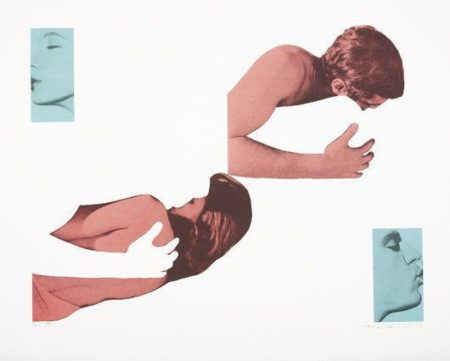John Baldessari-Man and Woman, Uncoupled Embracers and Kissers (No more sin)-1988