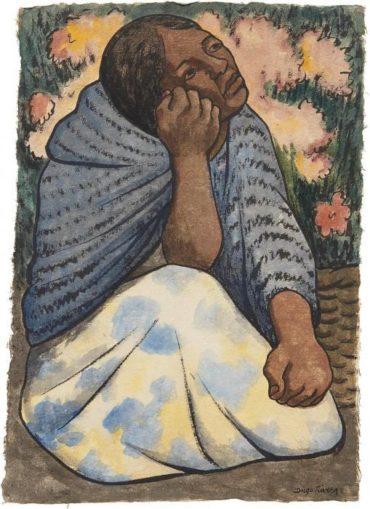 Diego Rivera-Mujer sentada en el mercado con rebozo azul y flores-1937