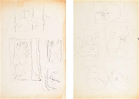 Lucio Fontana-Quattro nudi femminili Cinque studi per Olii-1961