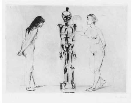 Edvard Munch-Kvinnene ved skjelettet / The Women and the Skeleton (Woll 51)-1898