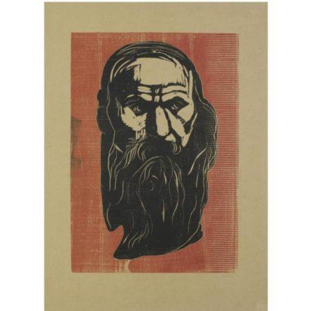 Edvard Munch-Hode av gammel mann med skjegg / Head of an Old Man with Beard (W. 206)-1902