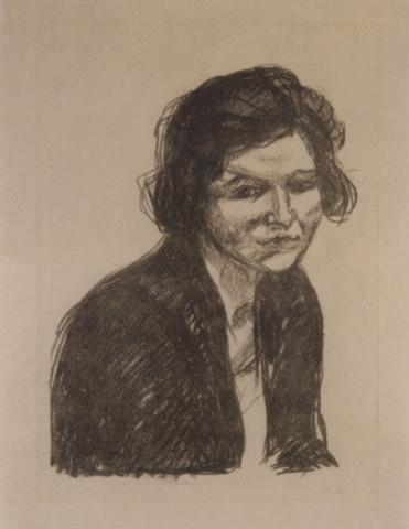 Edvard Munch-Frau mit Schwarzem Schal / Woman with Black Shawl (S. 476; Affen I / Apes I (S.302)-1920