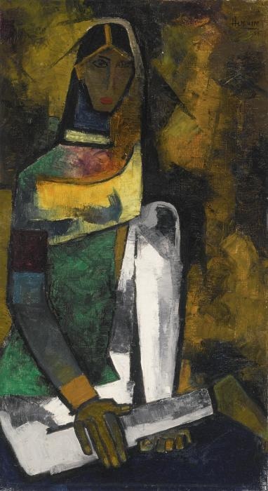 Maqbool Fida Husain-Untitled (Woman)-1955