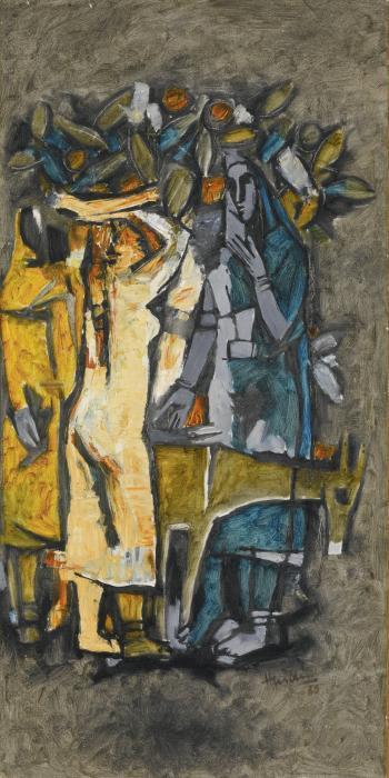 Maqbool Fida Husain-Untitled (Village Women)-1960