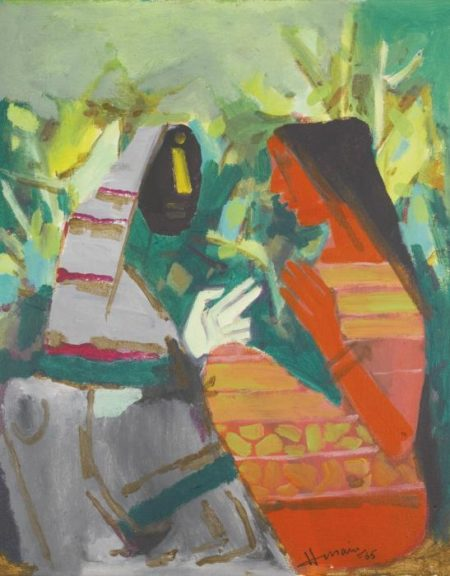 Maqbool Fida Husain-Untitled (Village Girls)-1977