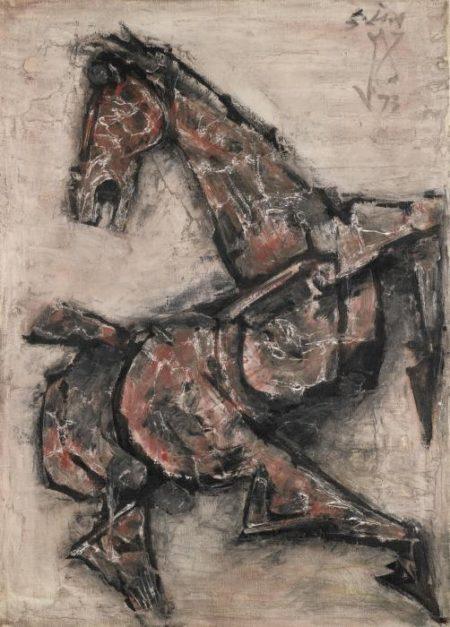 Maqbool Fida Husain-Untitled (Galloping Horse)-1973