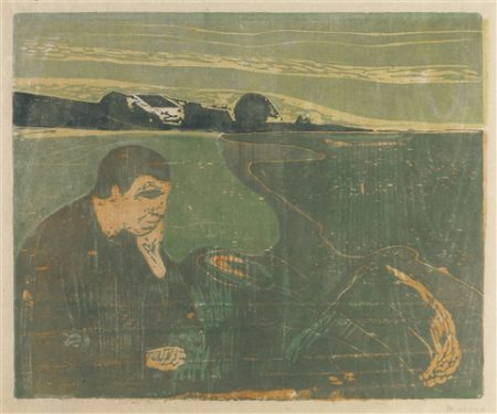 Edvard Munch-Evening, Melancholy I (W. 91; Sch. 82)-1896