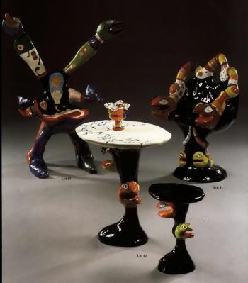 Niki de Saint Phalle-Table; Stool and Urn-1982