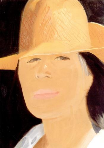 Alex Katz-Ada in Orange Straw Hat-1990