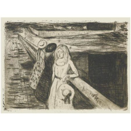 Edvard Munch-The Girls On The Bridge (Woll 232; Schiefler 200)-1903