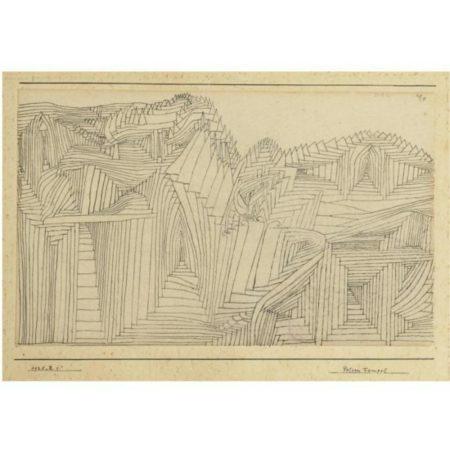 Paul Klee-Felsen Tempel (Rock-Cut Temple)-1925