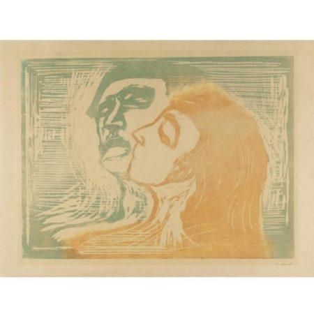 Edvard Munch-Hode ved hode / Head by head / Kopf bei Kopf / Mann und Weib sich kussend (W. 268; S. 230)-1905