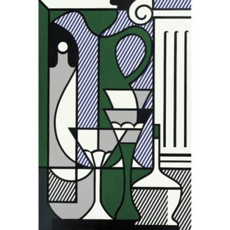 Roy Lichtenstein-Purist Painting with Pitcher, Glass, classical Column-1975
