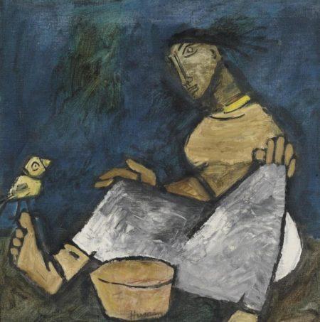 Maqbool Fida Husain-Untitled (Woman At Work)-1958