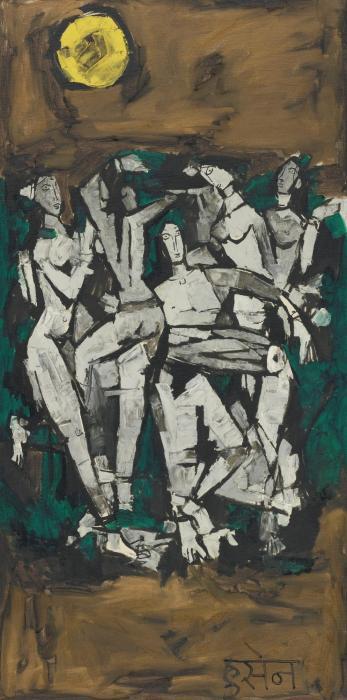 Maqbool Fida Husain-Untitled (Dancers Under the Full Moon)-