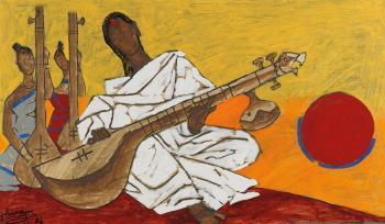 Maqbool Fida Husain-Untitled (Woman Playing Sitar)-1986