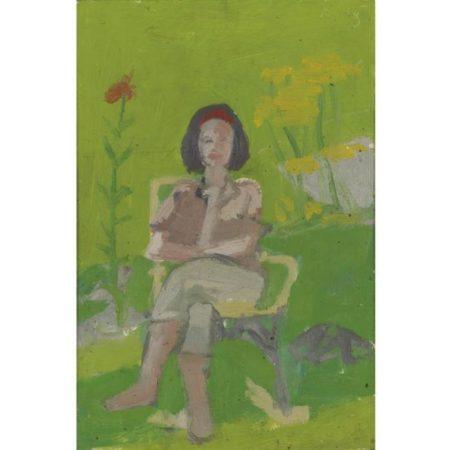 Alex Katz-Woman Sitting in a Garden-1954