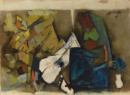 Maqbool Fida Husain-Blue Flower-1969