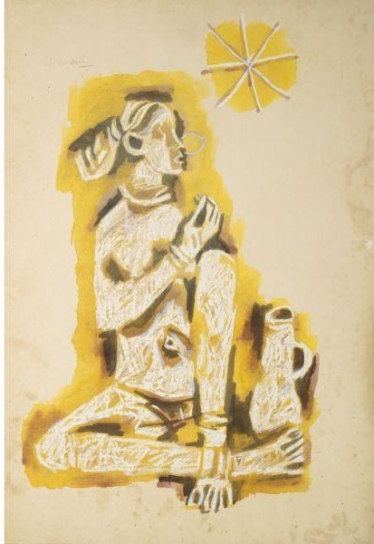 Maqbool Fida Husain-Untitled (Woman with Pitcher)-1960