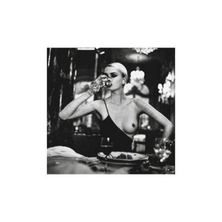 Helmut Newton-Kylie Bax drinking at the Hotel Hermitage-1996