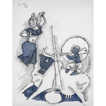 Maqbool Fida Husain-Krishna With Gopis-2006
