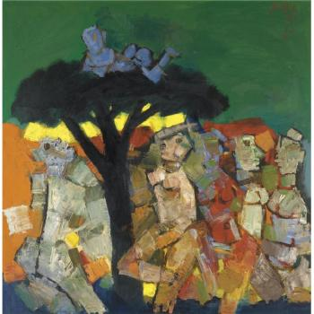 Maqbool Fida Husain-Blue Boy On Tree Top-1969