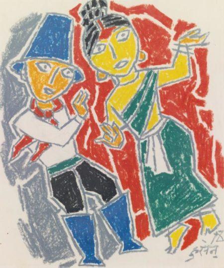 Maqbool Fida Husain-Untitled (Dancing Couple)-