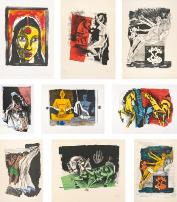 Maqbool Fida Husain-Nine Prints-