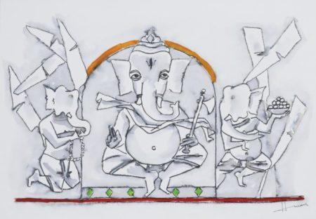 Maqbool Fida Husain-Untitled (Ganesh)-