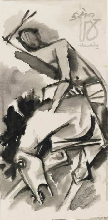 Maqbool Fida Husain-Untitled (Horse with Rider)-