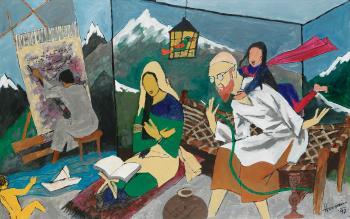 Maqbool Fida Husain-Untitled (Husain's Family)-1997