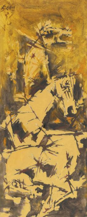 Maqbool Fida Husain-Untitled (Three Horses)-1970