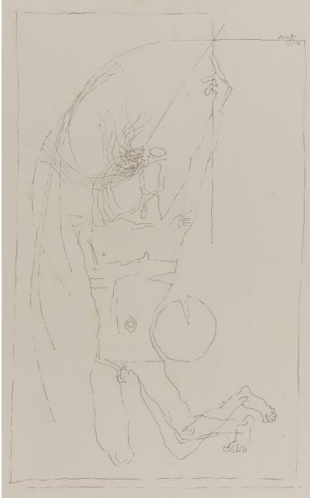 Maqbool Fida Husain-Untitled (Figure)-1973