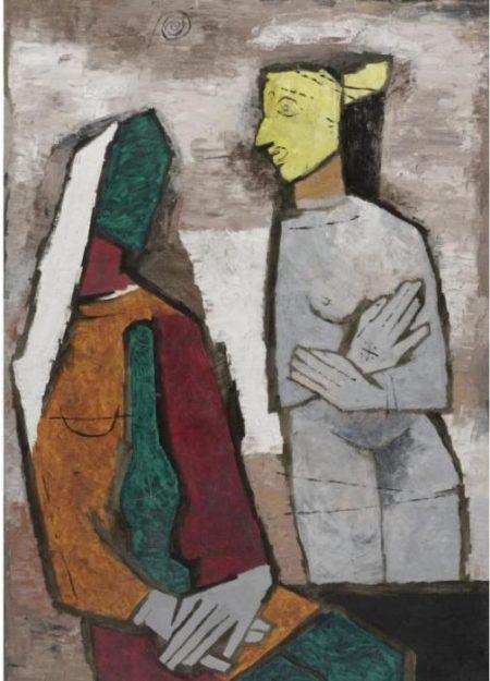 Maqbool Fida Husain-Untitled (Figures)-