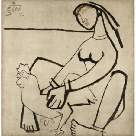 Maqbool Fida Husain-Untitled (Woman with Rooster)-1956