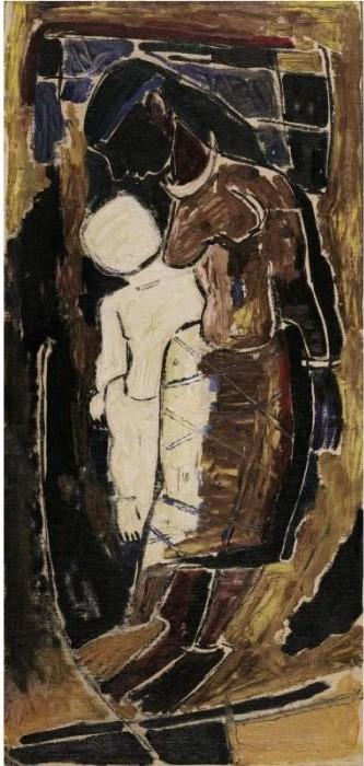 Maqbool Fida Husain-Mother and Child-