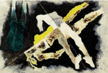 Maqbool Fida Husain-Bodies drift between you and me-1971