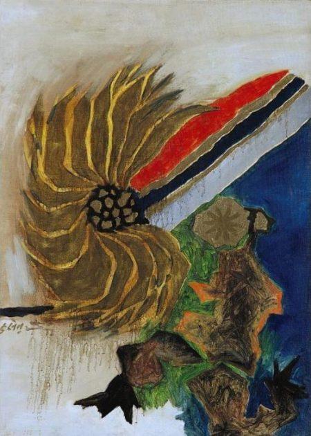 Maqbool Fida Husain-Word Flower I-1972