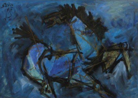Maqbool Fida Husain-Cobalt Horse-1970