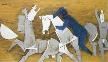 Maqbool Fida Husain-Blue Figure with Horses-1980