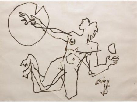 Maqbool Fida Husain-Landing - Reaching For The Moon-1970