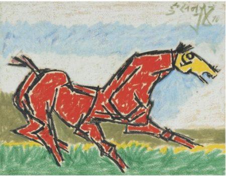 Maqbool Fida Husain-Red Horse-1970