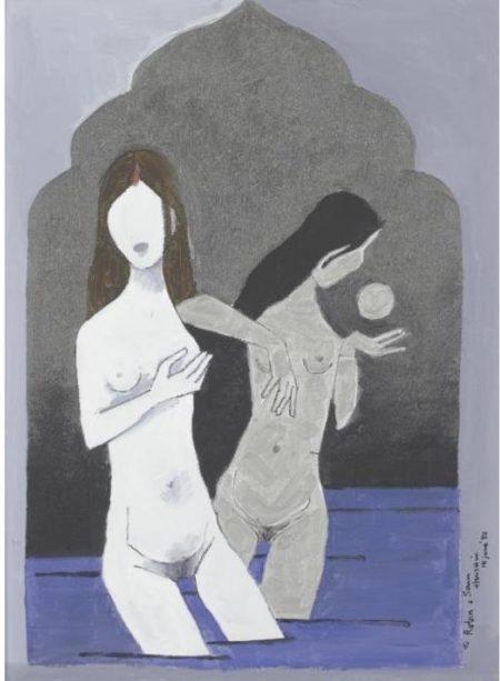 Maqbool Fida Husain-Bathing Girls-1980