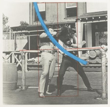 John Baldessari-Blue Masterstroke Over Red Diagram and Two Cowboys-1989