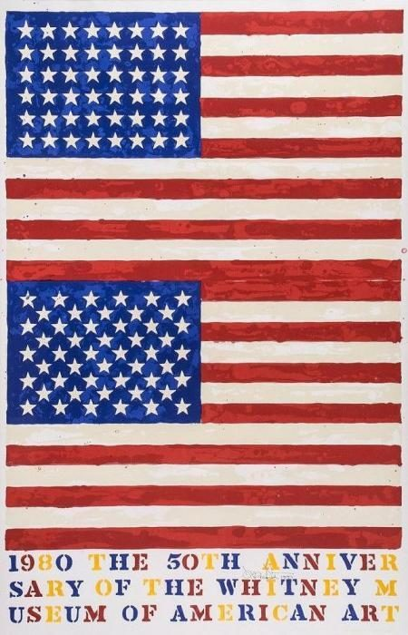 Jasper Johns-Two Flags. Whitney Anniversary Poster-1980