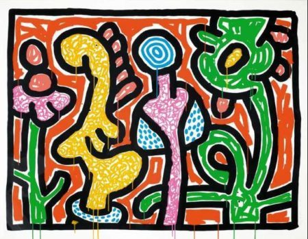 Keith Haring-Keith Haring - Flowers #4 - Orange-1990